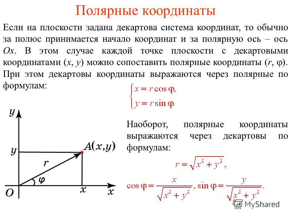 Полярные координаты Если на плоскости задана декартова система координат, то обычно за полюс принимается начало координат и за полярную ось – ось Ox. В этом случае каждой точке плоскости с декартовыми координатами (x, y) можно сопоставить полярные ко