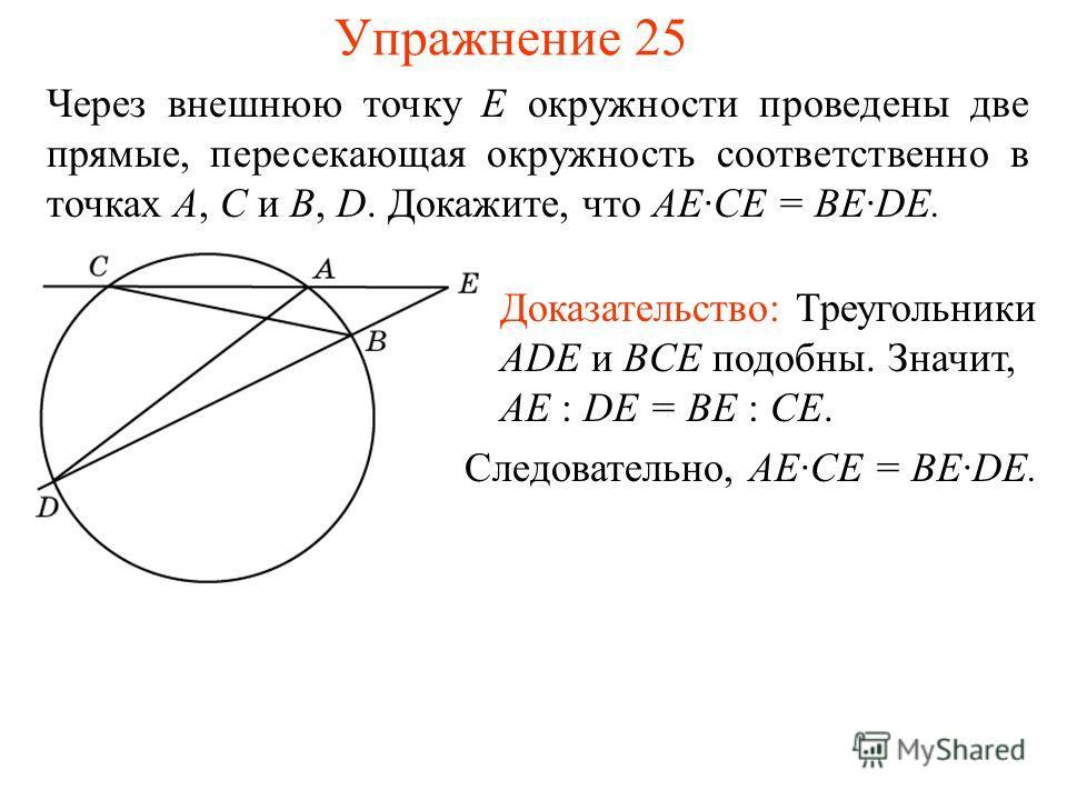 Упражнение 25 Через внешнюю точку E окружности проведены две прямые, пересекающая окружность соответственно в точках A, C и B, D. Докажите, что AE·CE = BE·DE. Доказательство: Треугольники ADE и BCE подобны. Значит, AE : DE = BE : CE. Следовательно, A
