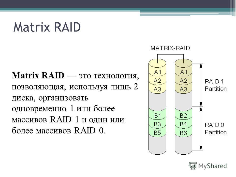 Matrix RAID Matrix RAID это технология, позволяющая, используя лишь 2 диска, организовать одновременно 1 или более массивов RAID 1 и один или более массивов RAID 0.