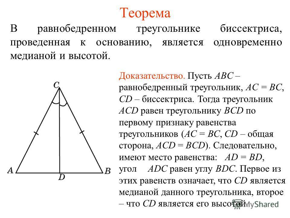 Теорема В равнобедренном треугольнике биссектриса, проведенная к основанию, является одновременно медианой и высотой. Доказательство. Пусть ABC – равнобедренный треугольник, AC = BC, CD – биссектриса. Тогда треугольник ACD равен треугольнику BCD по п