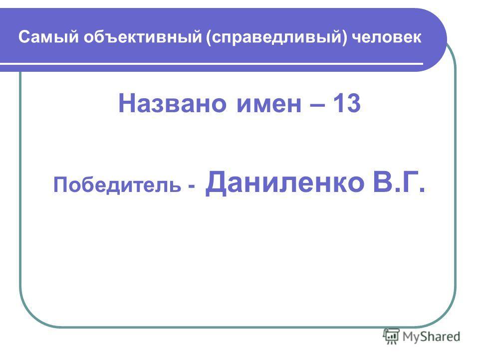 Самый объективный (справедливый) человек Названо имен – 13 Победитель - Даниленко В.Г.