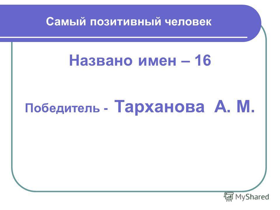 Самый позитивный человек Названо имен – 16 Победитель - Тарханова А. М.