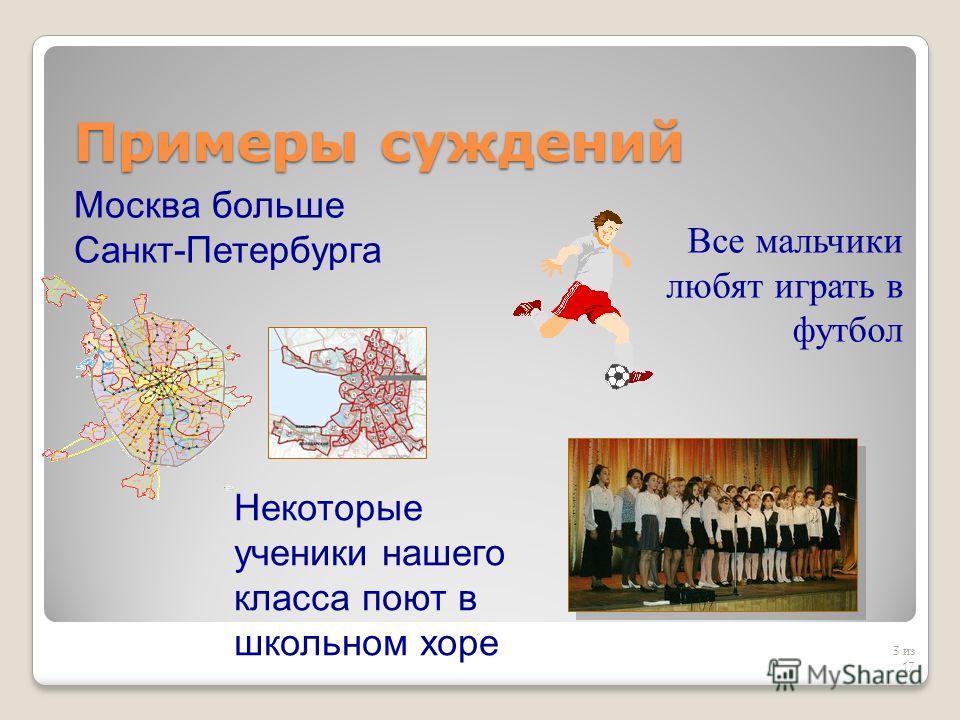 Примеры суждений 3 из 17 Москва больше Санкт-Петербурга Все мальчики любят играть в футбол Некоторые ученики нашего класса поют в школьном хоре