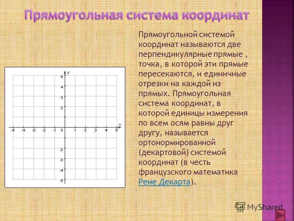 Прямоугольной системой координат называются две перпендикулярные прямые, точка, в которой эти прямые пересекаются, и единичные отрезки на каждой из прямых. Прямоугольная система координат, в которой единицы измерения по всем осям равны друг другу, на