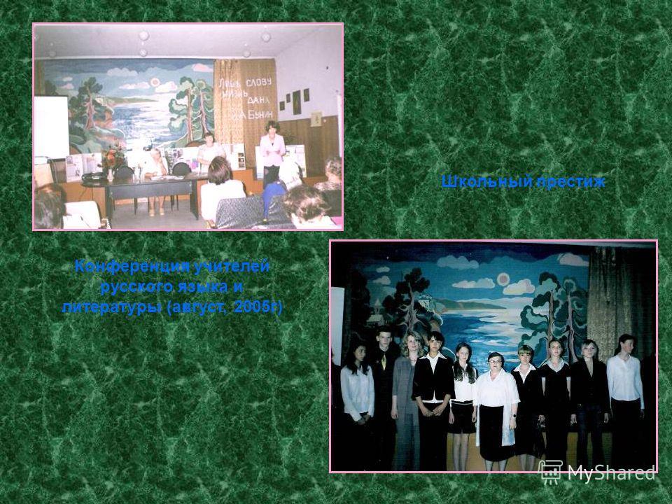 Конференция учителей русского языка и литературы (август, 2005г) Школьный престиж