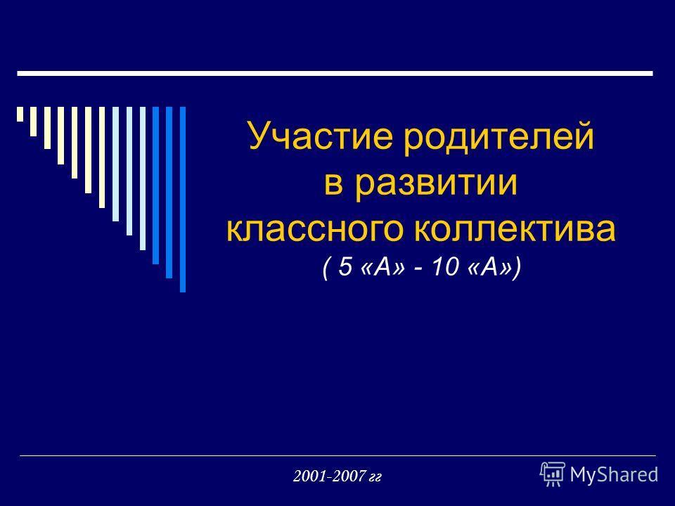 Участие родителей в развитии классного коллектива ( 5 «А» - 10 «А») 2001-2007 гг