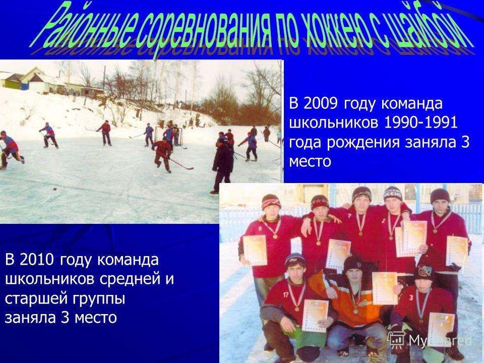 В 2009 году команда школьников 1990-1991 года рождения заняла 3 место В 2010 году команда школьников средней и старшей группы заняла 3 место