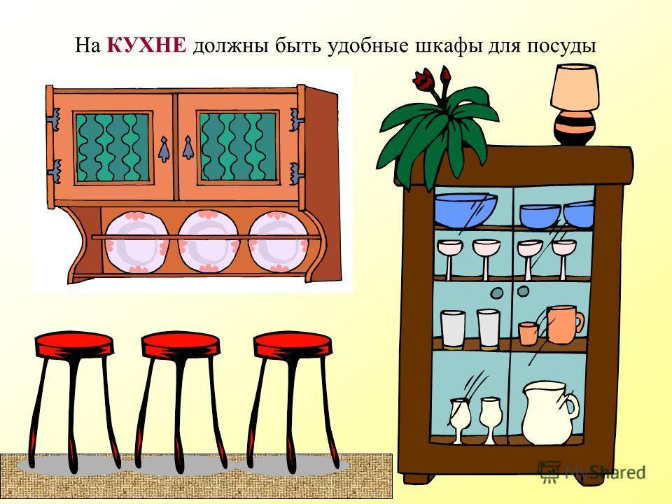 На КУХНЕ обязательно должны быть – стол, стулья, холодильник, плита, чайник, мусорный бак
