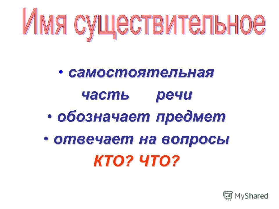 самостоятельная часть речи обозначает предмет обозначает предмет отвечает на вопросы отвечает на вопросы КТО? ЧТО?