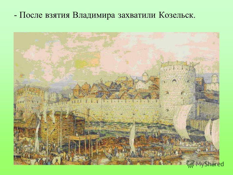 - После взятия Владимира захватили Козельск.