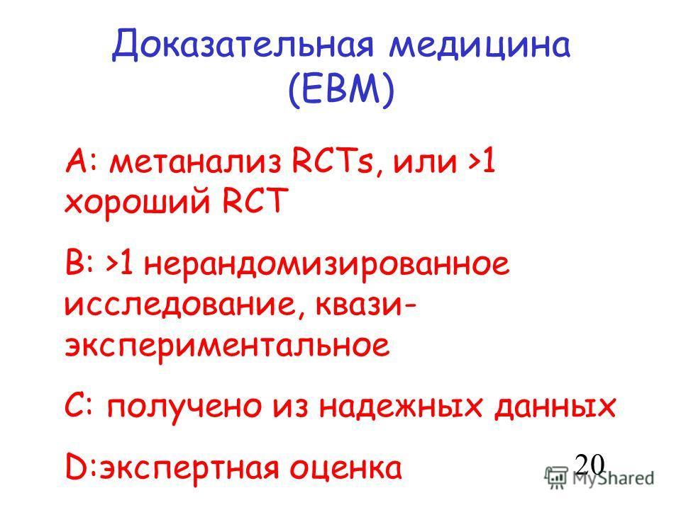 Доказательная медицина (EBM) A: метанализ RCTs, или >1 хороший RCT B: >1 нерандомизированное исследование, квази- экспериментальное C: получено из надежных данных D:экспертная оценка 20