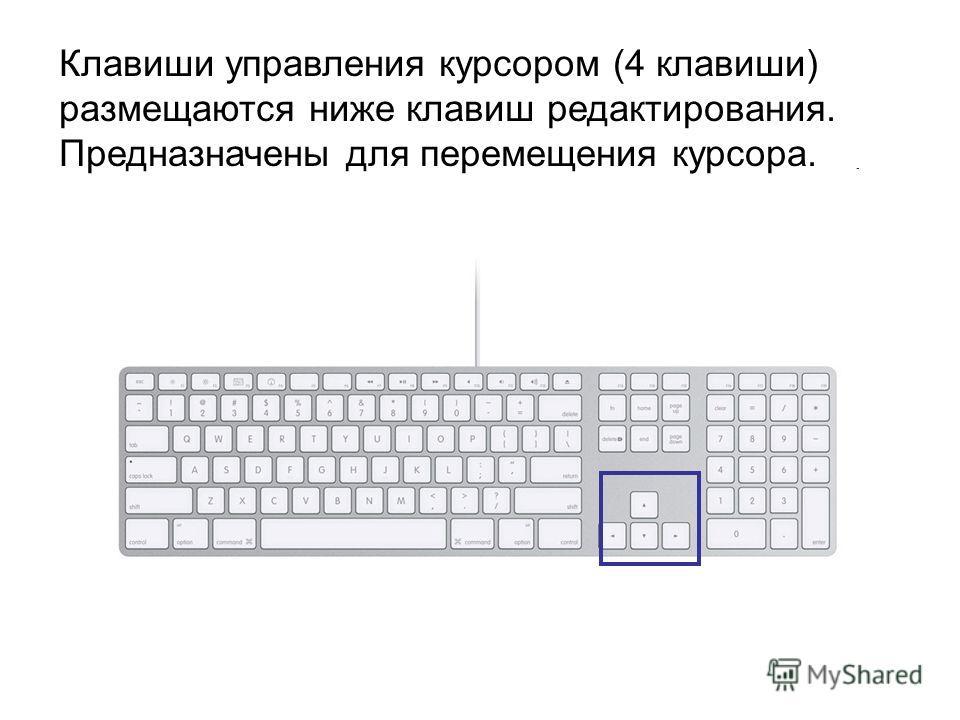 Клавиши управления курсором (4 клавиши) размещаются ниже клавиш редактирования. Предназначены для перемещения курсора.