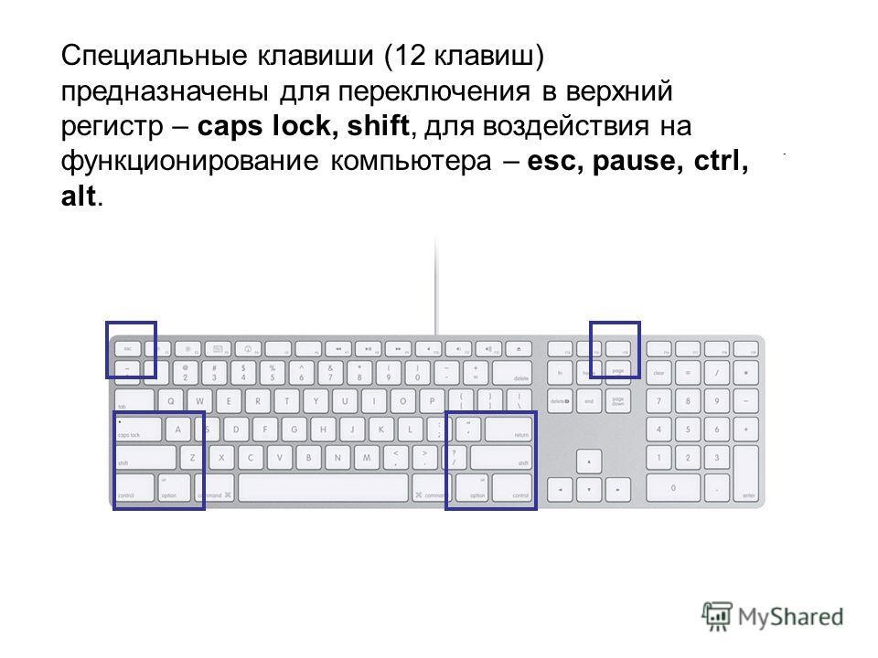 Специальные клавиши (12 клавиш) предназначены для переключения в верхний регистр – caps lock, shift, для воздействия на функционирование компьютера – esc, pause, ctrl, alt.