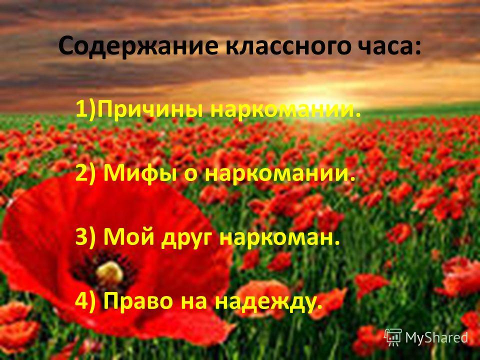 Содержание классного часа: 1)Причины наркомании. 2) Мифы о наркомании. 3) Мой друг наркоман. 4) Право на надежду.