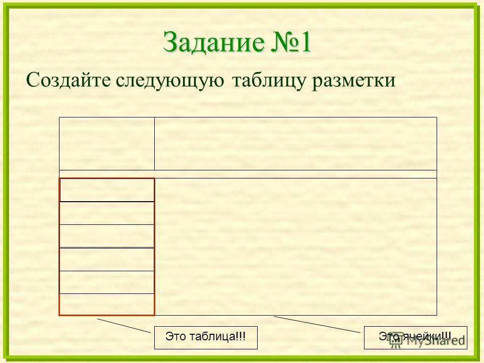 Задание 1 Создайте следующую таблицу разметки Это таблица!!! Это ячейки!!!