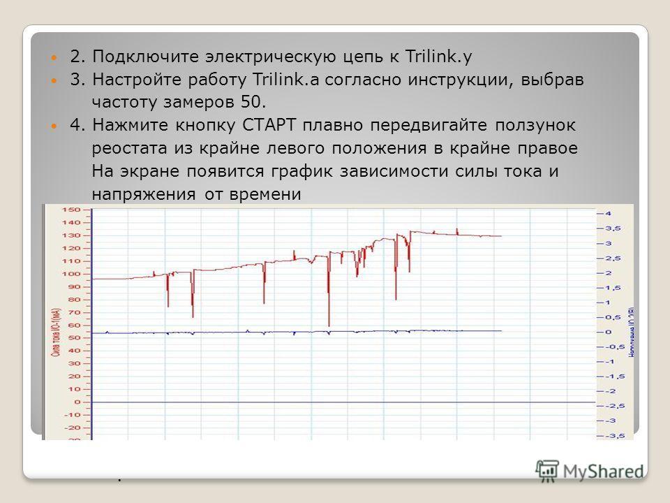 2. Подключите электрическую цепь к Trilink.у 3. Настройте работу Trilink.а согласно инструкции, выбрав частоту замеров 50. 4. Нажмите кнопку СТАРТ плавно передвигайте ползунок реостата из крайне левого положения в крайне правое На экране появится гра