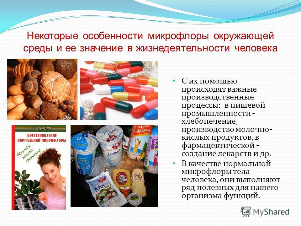 Некоторые особенности микрофлоры окружающей среды и ее значение в жизнедеятельности человека С их помощью происходят важные производственные процессы: в пищевой промышленности - хлебопечение, производство молочно- кислых продуктов, в фармацевтической