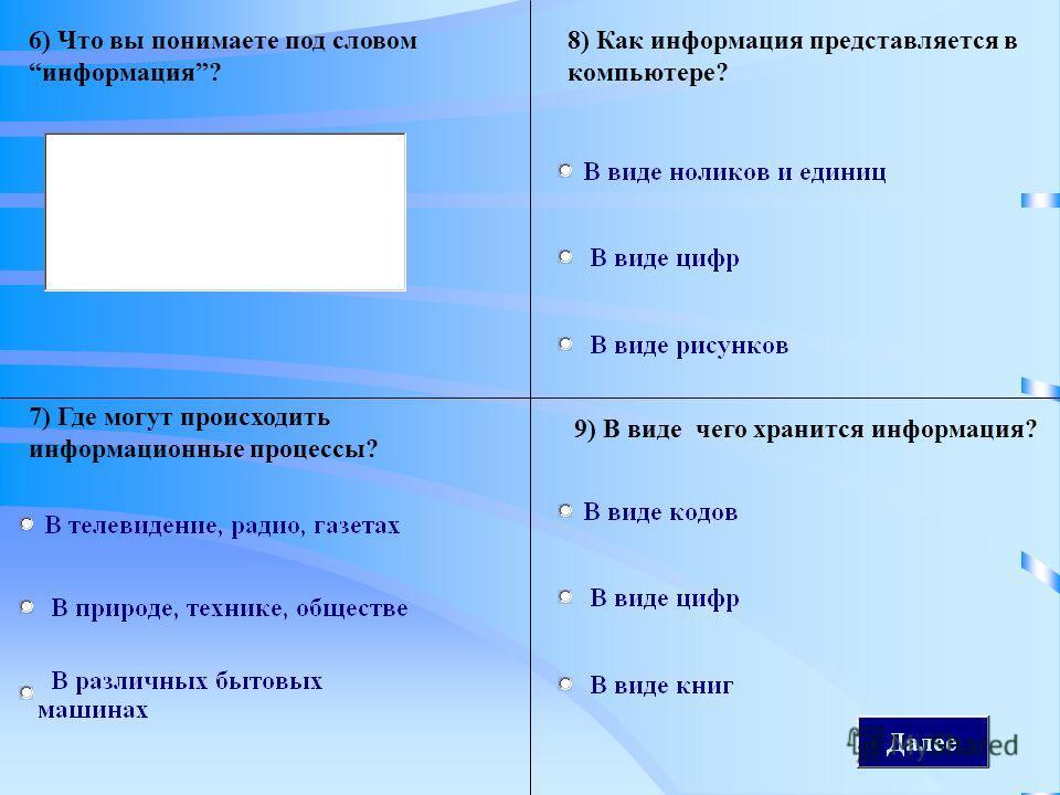 Далее 6) Что вы понимаете под словом информация? 7) Где могут происходить информационные процессы? 8) Как информация представляется в компьютере? 9) В виде чего хранится информация?