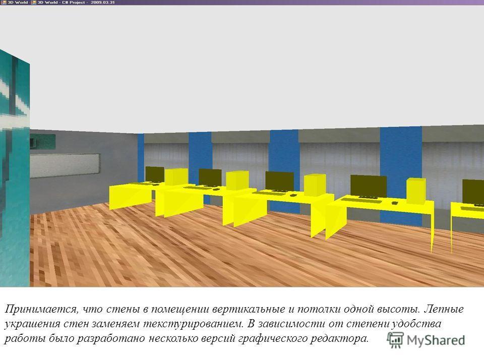 Принимается, что стены в помещении вертикальные и потолки одной высоты. Лепные украшения стен заменяем текстурированием. В зависимости от степени удобства работы было разработано несколько версий графического редактора.