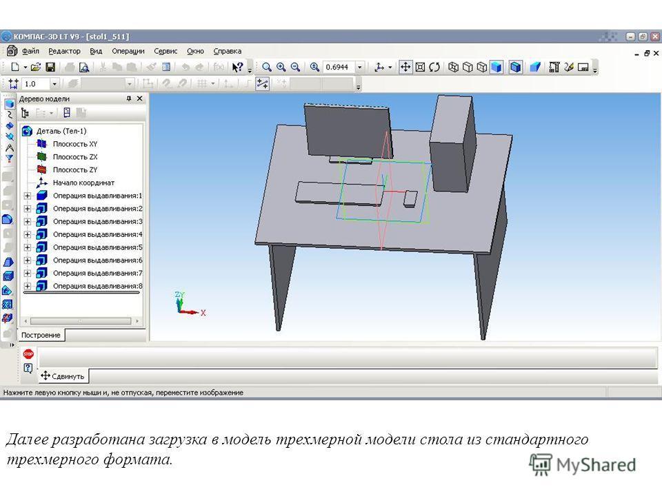 Далее разработана загрузка в модель трехмерной модели стола из стандартного трехмерного формата.