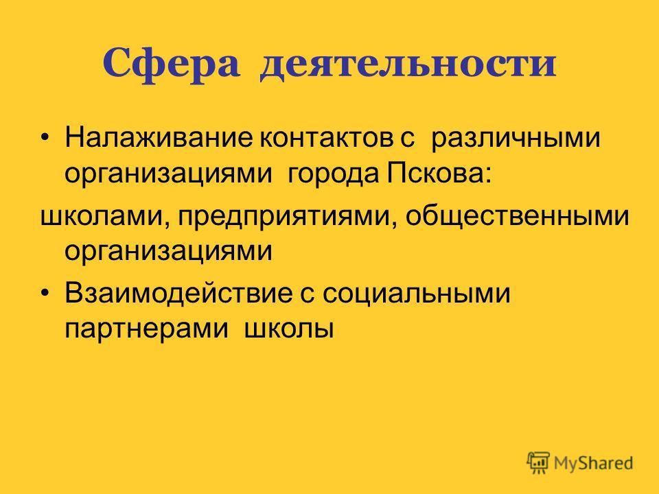 Сфера деятельности Налаживание контактов с различными организациями города Пскова: школами, предприятиями, общественными организациями Взаимодействие с социальными партнерами школы