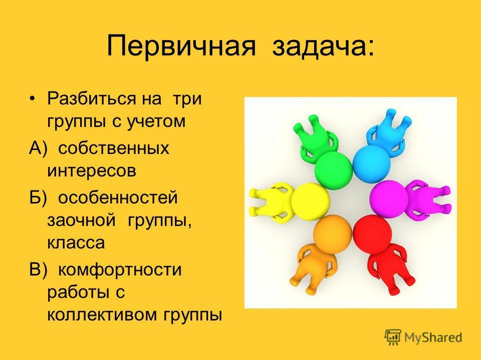 Первичная задача: Разбиться на три группы с учетом А) собственных интересов Б) особенностей заочной группы, класса В) комфортности работы с коллективом группы