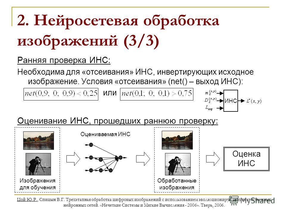 Цой Ю.Р., Спицын В.Г. Трехэтапная обработка цифровых изображений с использованием эволюционирующих искусственных нейронных сетей. «Нечеткие Системы и Мягкие Вычисления - 2006». Тверь, 2006. 2. Нейросетевая обработка изображений (3/3) Ранняя проверка