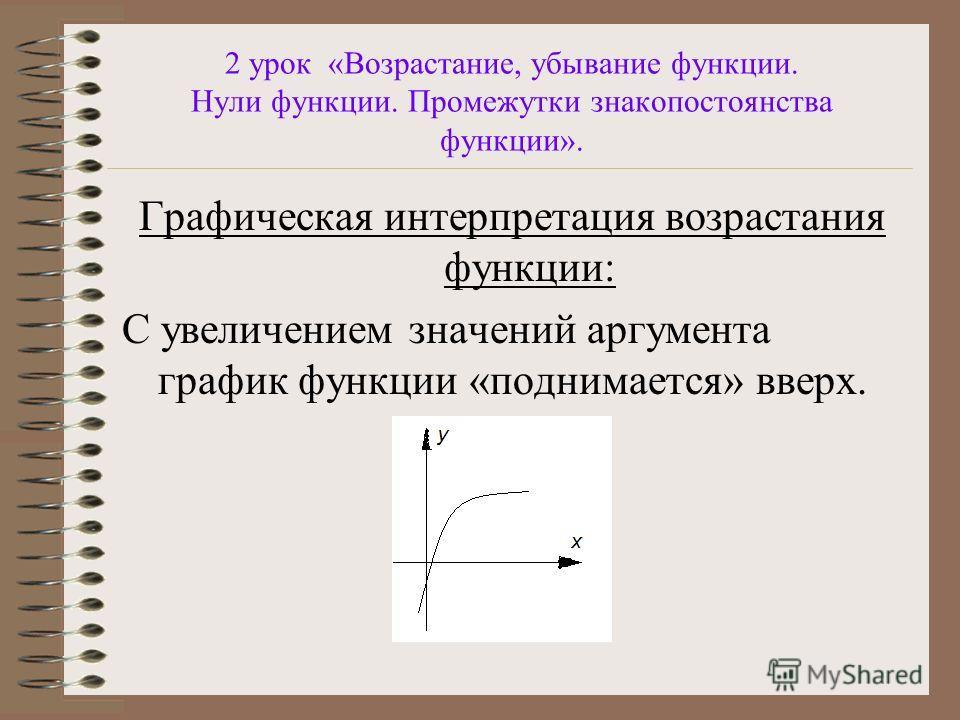 2 урок «Возрастание, убывание функции. Нули функции. Промежутки знакопостоянства функции». Графическая интерпретация возрастания функции: С увеличением значений аргумента график функции «поднимается» вверх.