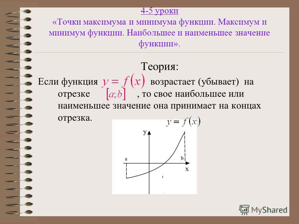 4-5 уроки «Точки максимума и минимума функции. Максимум и минимум функции. Наибольшее и наименьшее значение функции». Теория: Если функция возрастает (убывает) на отрезке, то свое наибольшее или наименьшее значение она принимает на концах отрезка.