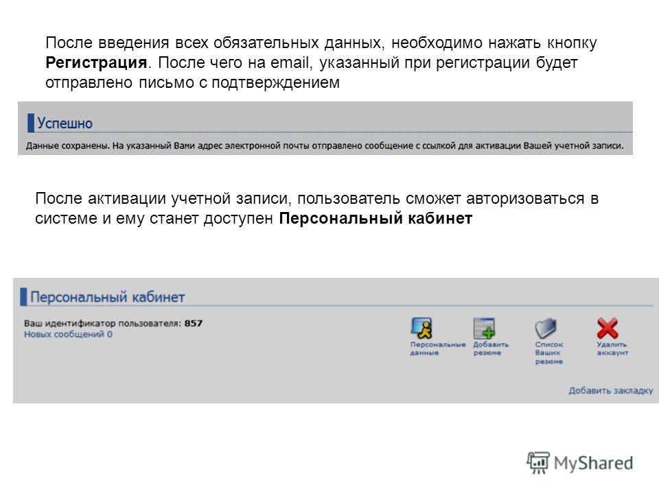 После введения всех обязательных данных, необходимо нажать кнопку Регистрация. После чего на email, указанный при регистрации будет отправлено письмо с подтверждением После активации учетной записи, пользователь сможет авторизоваться в системе и ему