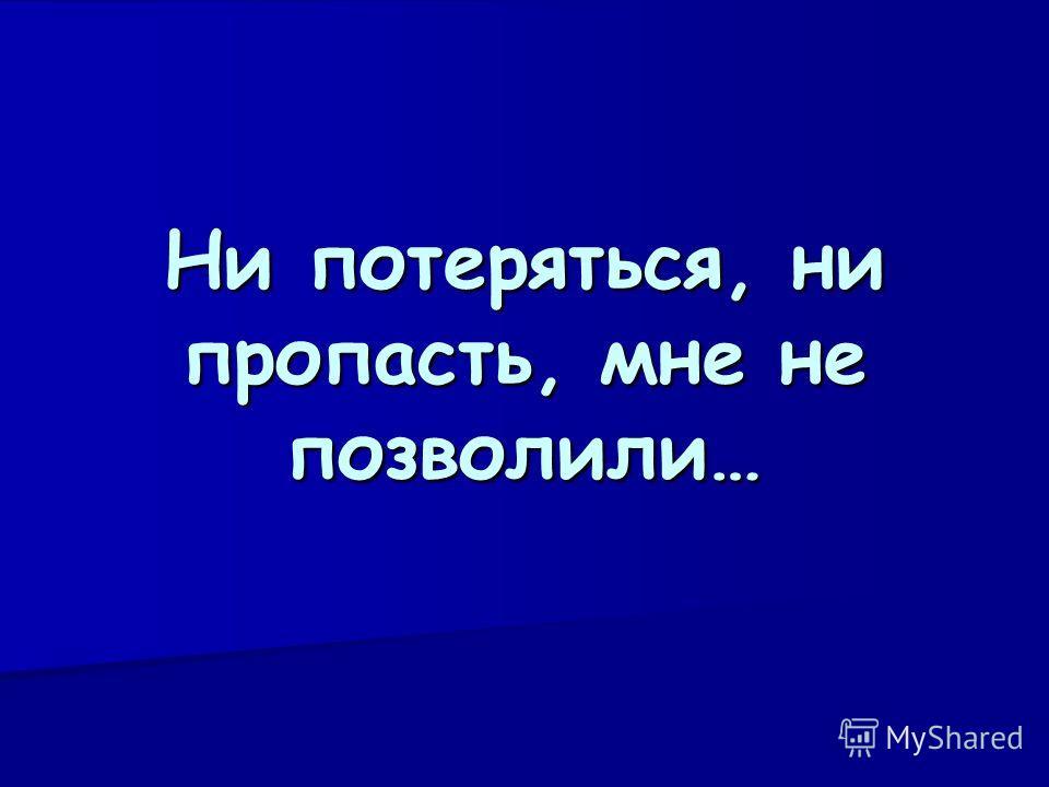 Ни потеряться, ни пропасть, мне не позволили…
