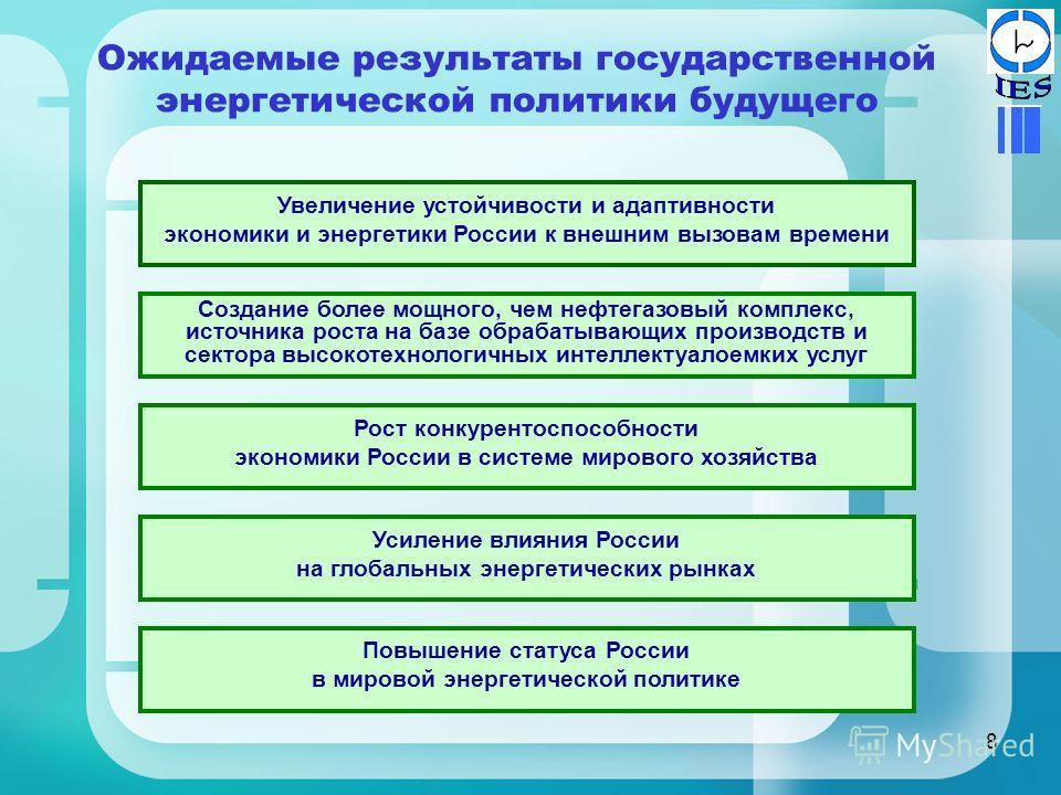 8 Ожидаемые результаты государственной энергетической политики будущего Увеличение устойчивости и адаптивности экономики и энергетики России к внешним вызовам времени Рост конкурентоспособности экономики России в системе мирового хозяйства Повышение