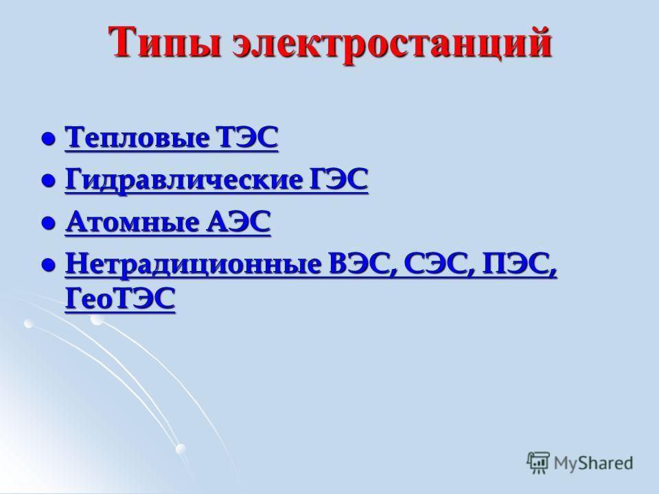 Типы электростанций Тепловые ТЭС Тепловые ТЭС Тепловые ТЭС Тепловые ТЭС Гидравлические ГЭС Гидравлические ГЭС Гидравлические ГЭС Гидравлические ГЭС Атомные АЭС Атомные АЭС Атомные АЭС Атомные АЭС Нетрадиционные ВЭС, СЭС, ПЭС, ГеоТЭС Нетрадиционные ВЭ