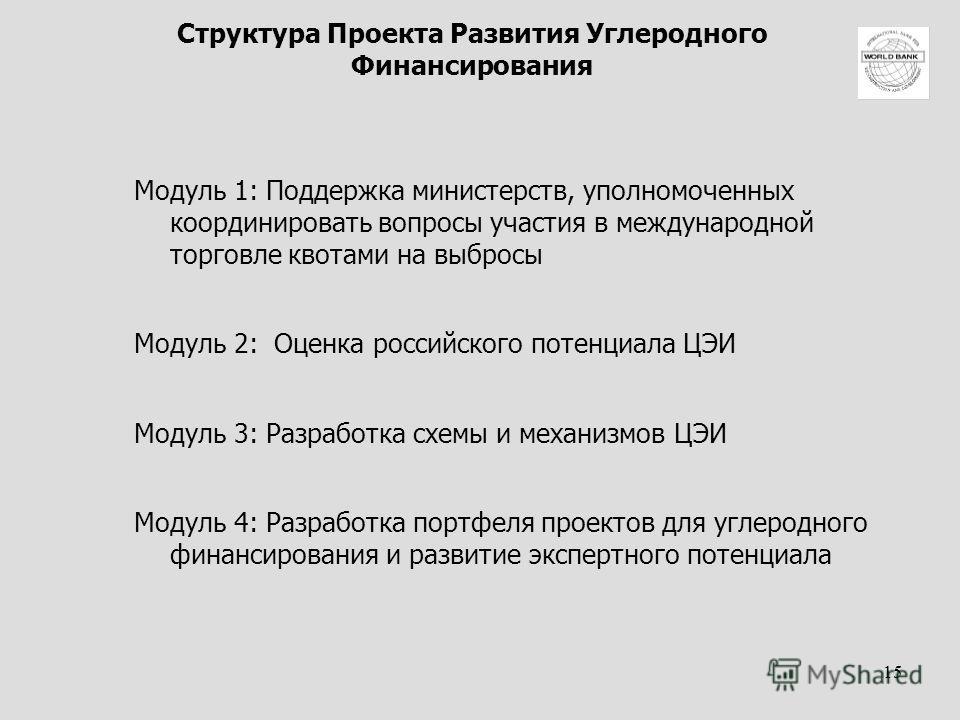 15 Структура Проекта Развития Углеродного Финансирования Модуль 1: Поддержка министерств, уполномоченных координировать вопросы участия в международной торговле квотами на выбросы Модуль 2: Оценка российского потенциала ЦЭИ Модуль 3: Разработка схемы