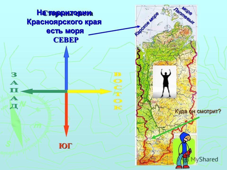 Карское море море Лаптевых Лаптевых Стороны света СЕВЕР ЮГ На территории Красноярского края есть моря есть моря Куда он смотрит?