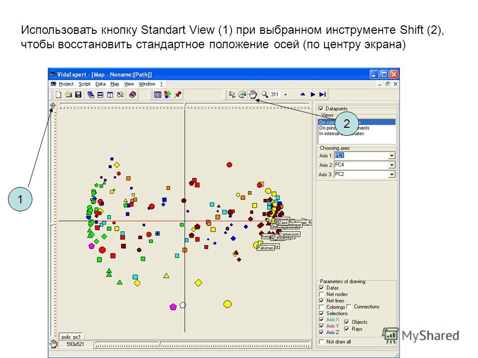 Использовать кнопку Standart View (1) при выбранном инструменте Shift (2), чтобы восстановить стандартное положение осей (по центру экрана) 1 2