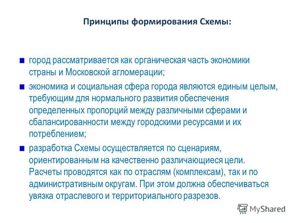 Принципы формирования Схемы: город рассматривается как органическая часть экономики страны и Московской агломерации; экономика и социальная сфера города являются единым целым, требующим для нормального развития обеспечения определенных пропорций межд