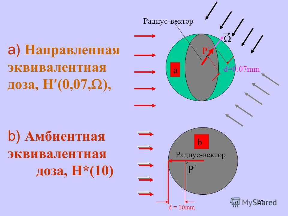 27 Радиус-вектор P'P' d = 10mm P a) Направленная эквивалентная доза, H (0,07, ), b) Амбиентная эквивалентная доза, H*(10) a b d=0.07mm
