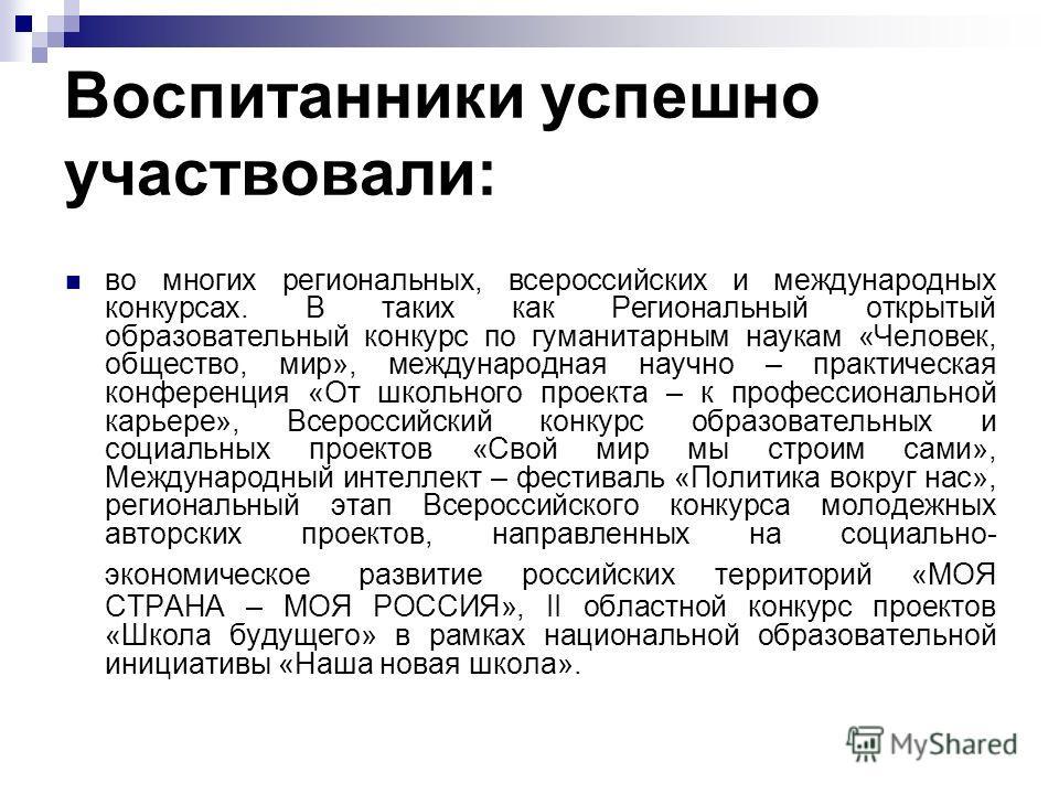Воспитанники успешно участвовали: во многих региональных, всероссийских и международных конкурсах. В таких как Региональный открытый образовательный конкурс по гуманитарным наукам «Человек, общество, мир», международная научно – практическая конферен