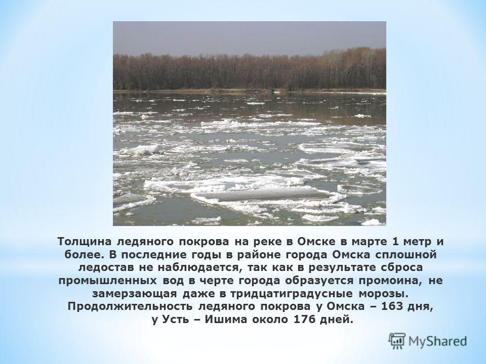 Толщина ледяного покрова на реке в Омске в марте 1 метр и более. В последние годы в районе города Омска сплошной ледостав не наблюдается, так как в результате сброса промышленных вод в черте города образуется промоина, не замерзающая даже в тридцатиг