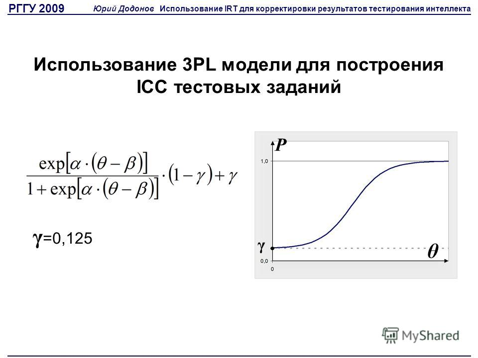 Использование 3PL модели для построения ICC тестовых заданий γ =0,125 γ θ P РГГУ 2009 Юрий Додонов Использование IRT для корректировки результатов тестирования интеллекта