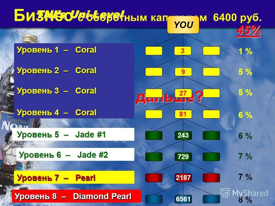 Бизнес с оборотным капиталом 6400 руб. Что дальше? Что дальше? TNIs Uni-Level YOU 3 243 81 27965612187 729 Уровень 1 – Coral 1 % 5 % Уровень 2 – Coral Уровень 3 – Coral Уровень 4 – Coral Уровень 5 – Jade #1 Уровень 5 – Jade #1 Уровень 6 – Jade #2 Уро