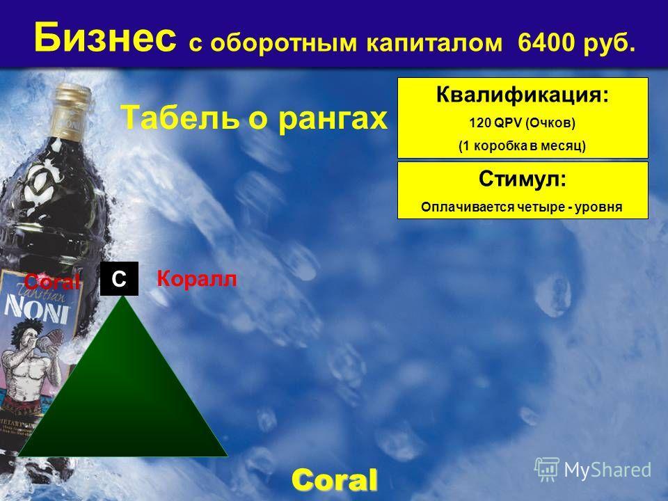 Бизнес с оборотным капиталом 6400 руб. Квалификация: 120 QPV (Очков) (1 коробка в месяц) Стимул: Оплачивается четыре - уровня Coral Coral C Коралл Табель о рангах