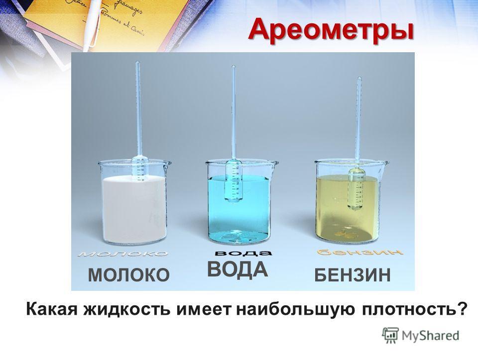 Ареометры Какая жидкость имеет наибольшую плотность? МОЛОКО ВОДА БЕНЗИН