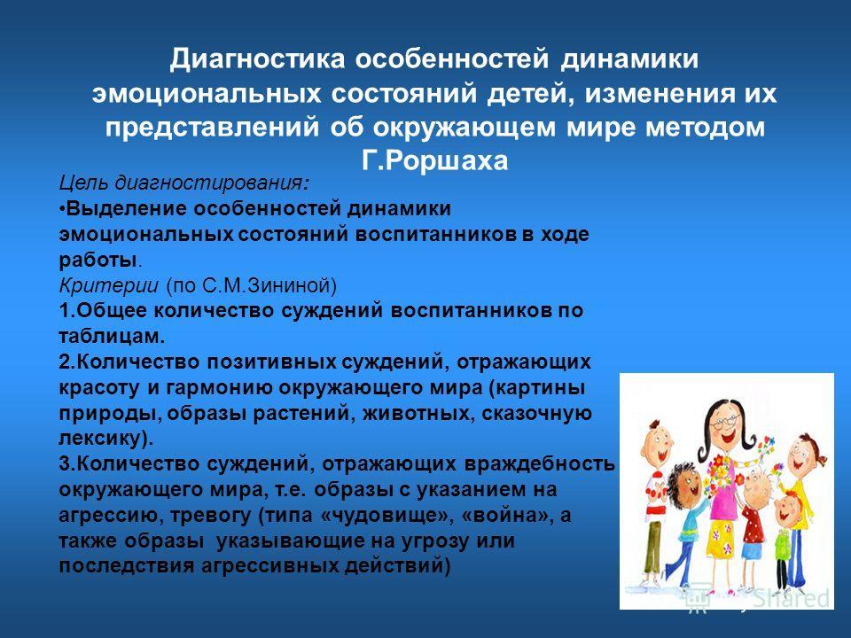 Диагностика особенностей динамики эмоциональных состояний детей, изменения их представлений об окружающем мире методом Г.Роршаха Цель диагностирования: Выделение особенностей динамики эмоциональных состояний воспитанников в ходе работы. Критерии (по