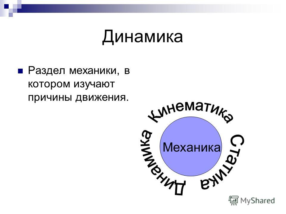 Динамика Раздел механики, в котором изучают причины движения. Механика