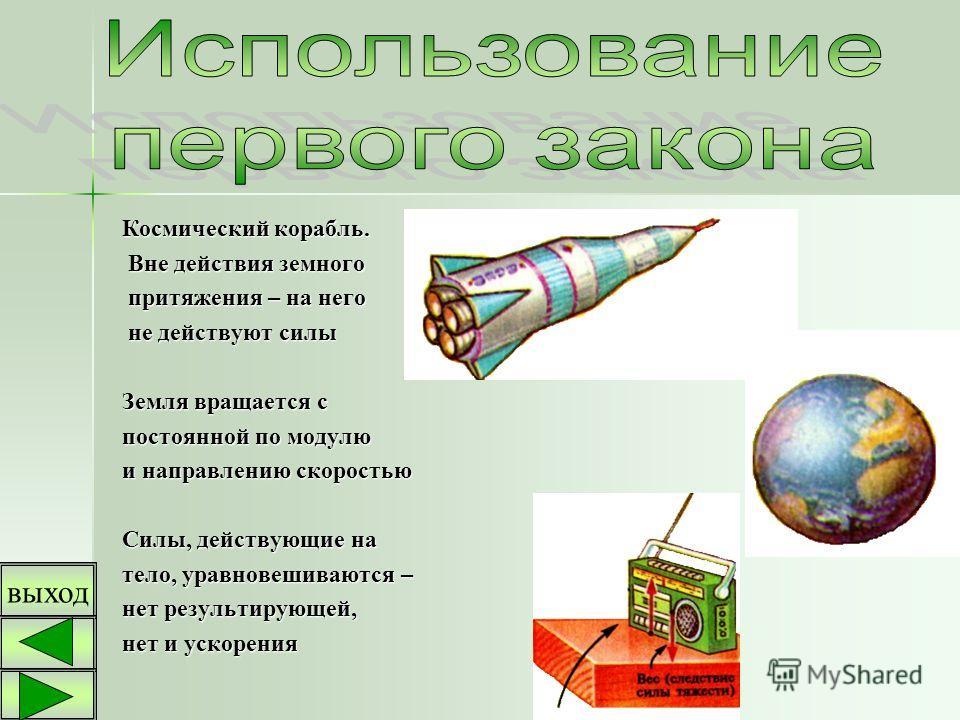 Космический корабль. Вне действия земного притяжения – на него не действуют силы Земля вращается с постоянной по модулю и направлению скоростью Силы, действующие на тело, уравновешиваются – нет результирующей, нет и ускорения