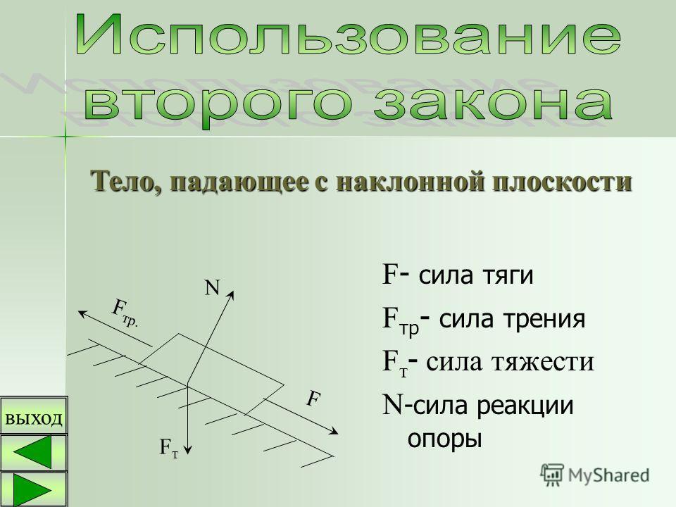 F - сила тяги F тр - сила трения F т - сила тяжести N -сила реакции опоры F тр. FтFт N F Тело, падающее с наклонной плоскости