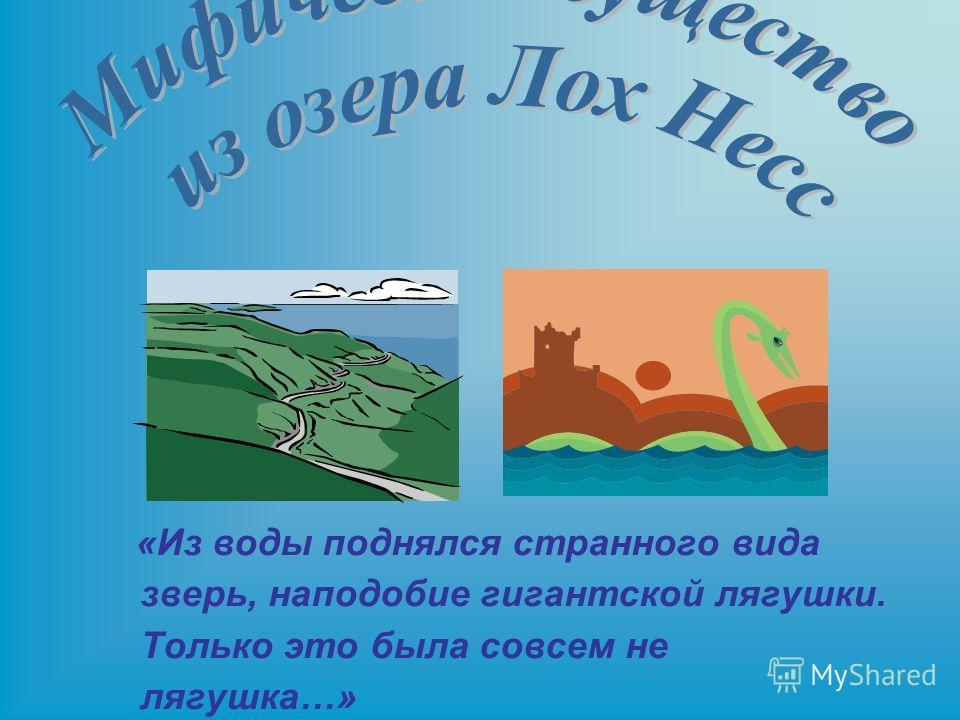 «Из воды поднялся странного вида зверь, наподобие гигантской лягушки. Только это была совсем не лягушка…»