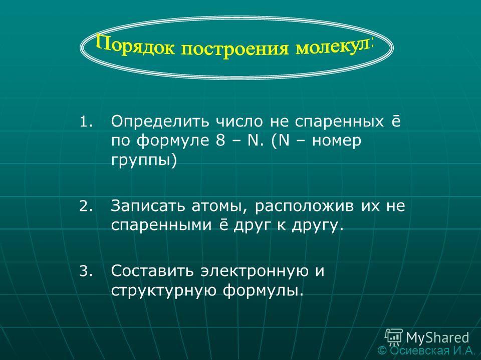 Химическая связь, возникающая в результате образования общих электронных пар, называется атомной или ковалентной © Осиевская И.А.